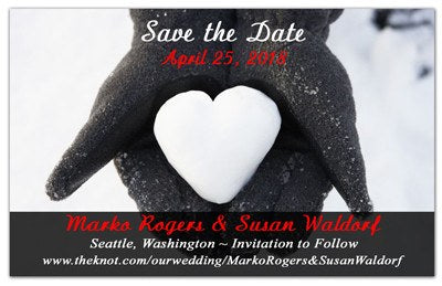 Snow Save the Date Magnets | Snow Heart | MAGNETQUEEN