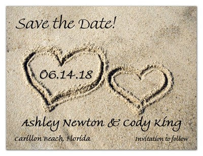 Tropical Save the Date Magnets | Hearts In The Sand | MAGNETQUEEN