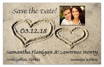 Save the Date Magnets | Hearts In The Sand Photo | MAGNETQUEEN
