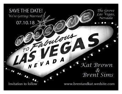 Vegas Save the Date | Night Marquee Silver | MAGNETQUEEN
