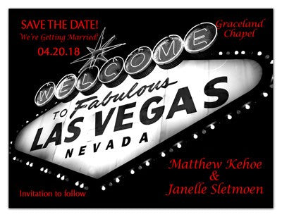 Las Vegas Save the Date | Marquee Red - MAGNETQUEEN