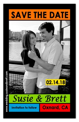 Inexpensive Save the Date Magnets | Mondrian on Black - MAGNETQUEEN