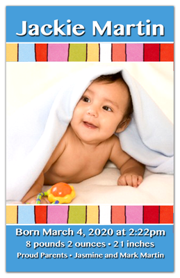 Birth Announcement Photograph Magnets Colorful Stripes Boy
