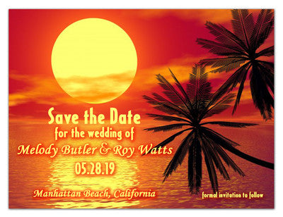 Beach Theme Save The Date Photo Magnets | Orange Sunset