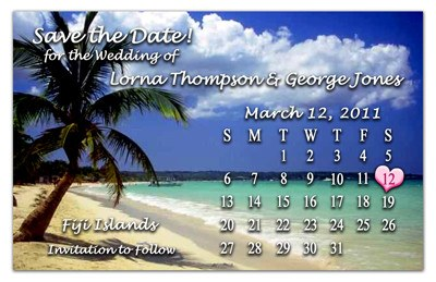 Wedding Beach Calendar Magnet | Palm Tree