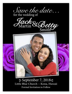 Save The Date Magnet  | Photo On Lavender Roses | MAGNETQUEEN
