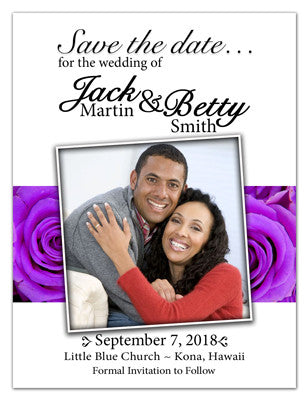 Save the Date Magnets | Photo On Lavender Roses White