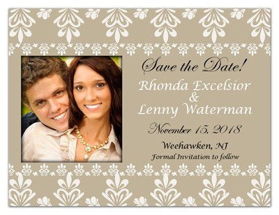 Beige Pattern Swirls Wedding Save The Date Magnets | Elegance - MAGNETQUEEN