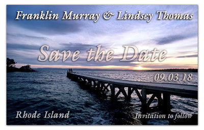 Tropical Wedding Save The Dates | Pier At Dusk | MAGNETQUEEN