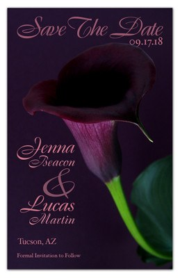 Purple Save the Date Magnet  | Calla Lily In Purple | MAGNETQUEEN