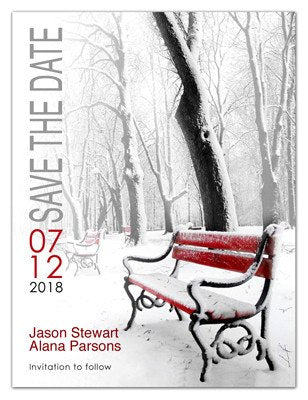 Winter Save the Date Magnets | <br>Red Bench