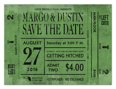 Vintage Save The Date Magnets | Ticket Stub | MAGNETQUEEN