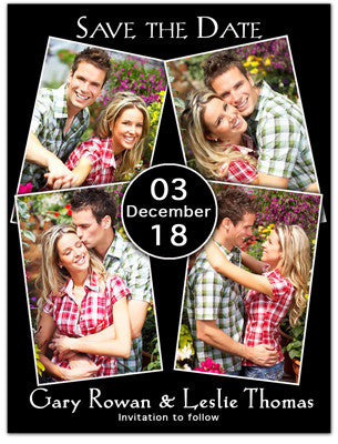 Elegant Save The Date Magnets | Four Photo Circle | MAGNETQUEEN
