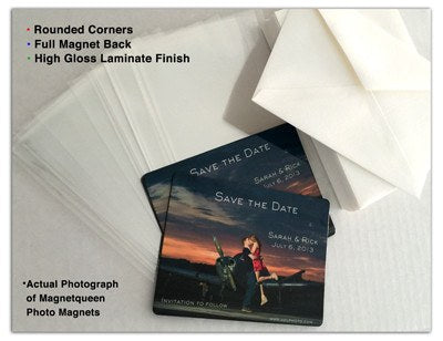 Round Photo Wedding Magnet Sample Pack: Photo Magnet, White Linen Envelope and Clear Sleeve