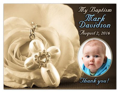 Baptism Party Favors Magnets | Cross with Rose | MAGNETQUEEN