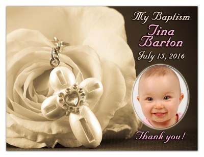 Baptism Party Favors Magnets | Cross with Rose Girl | MAGNETQUEEN