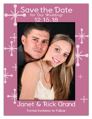 Holiday Save The Date Photo Magnets | Frosty Snowflakes | MAGNETQUEEN