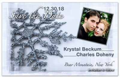 Winter Save Date Magnets | Snowflake Photo | MAGNETQUEEN