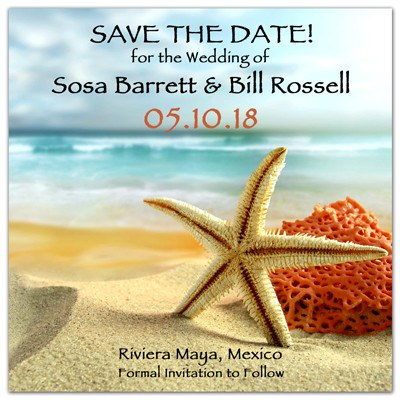 Save the Date Beach Wedding Magnets | Starfish and Coral | MAGNETQUEEN