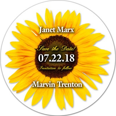 Save the Date Flower Magnets | Sunflower in the Round | MAGNETQUEEN