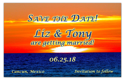Tropical Sunset Save The Date Magnets | Sunset Swim | MAGNETQUEEN