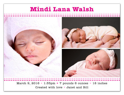 Magnetic Girl Birth Announcements | Pretty In Pink | MAGNETQUEEN