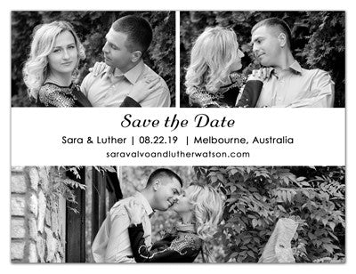 Three Photo Save The Date Magnets | Love and Kisses | MAGNETQUEEN