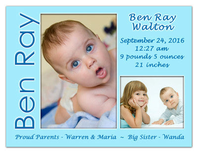 Baby Boy Announcement Fridge Magnets | 2 Photos On Blue | MAGNETQUEEN