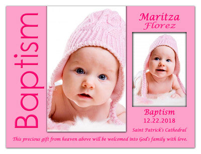Two Photo Baptism Magnets | Photos of Joy Girl | MAGNETQUEEN