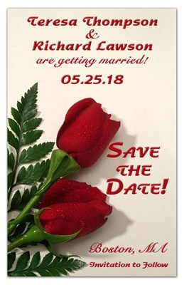Wedding Flower Save The Date Magnets | Two Red Roses On White | MAGNETQUEEN