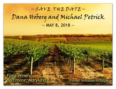 Save the Date Vineyard Magnets |<br> Vineyard Sunset