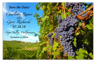 Wine Save the Date Magnets | Vineyard Grapes | MAGNETQUEEN