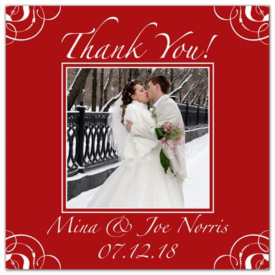 Thank You Wedding Photo Magnets | Red Swirls | MAGNETQUEEN