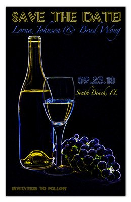 Wine Themed Save the Date Magnets | Neon | MAGNETQUEEN