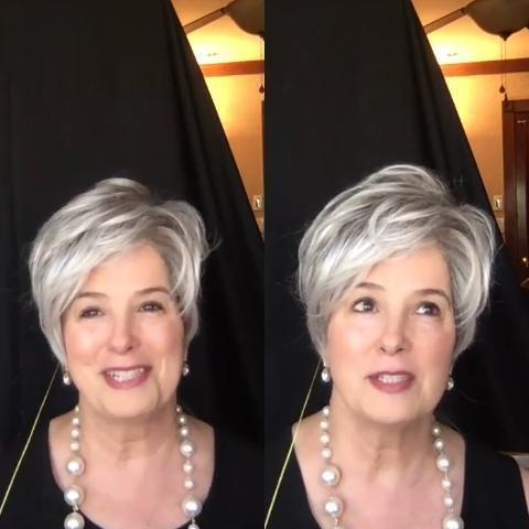 White Gray Short Wig