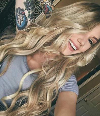 Light Blonde Wig(top black gradient)