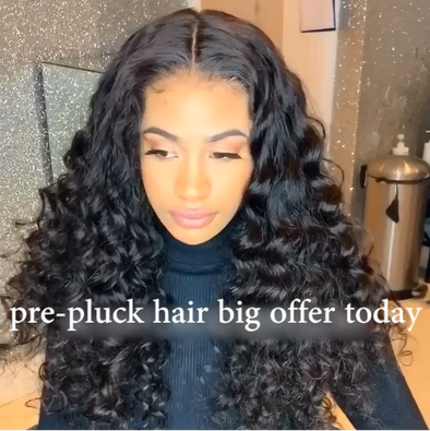 Prepluck Black Elegant Curly Hair-140%(Extra Thick As In Video)