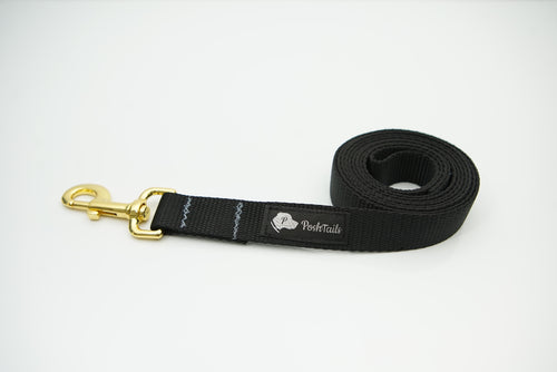 Dog Leash Black and Gold - Poshtails