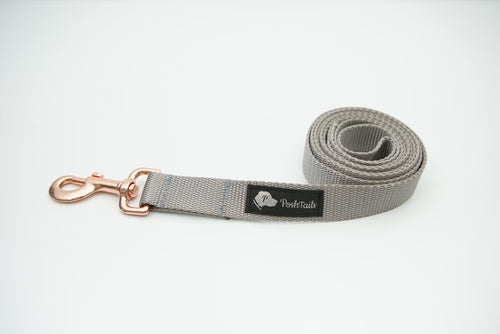 Dog Leash Silver Gray and Rose Gold - Poshtails