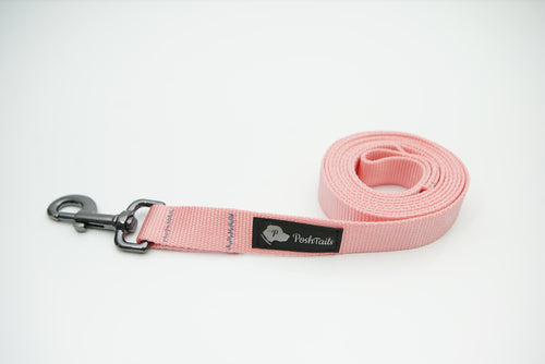 Dog Leash Pastel Pink and Gunmetal Black - Poshtails