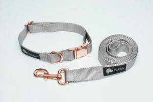 Matching Leash and Collar Set Gray and Rose Gold - Poshtails