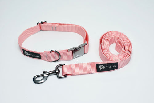 Matching Leash and Collar set Pastel Pink and Gunmetal Black - Poshtails