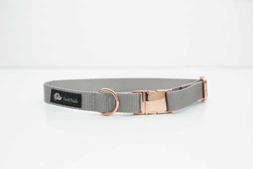 Dog Collar Silver Gray and Rose Gold - Poshtails