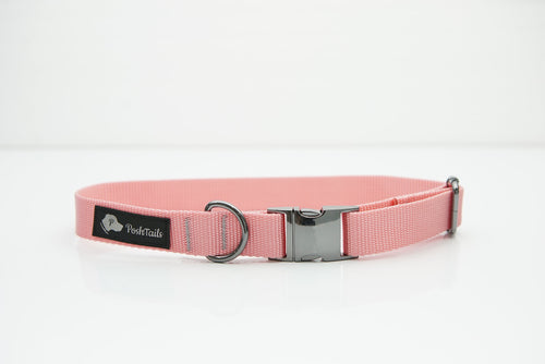 Pastel Pink & Black Gunmetal Dog Collar - Poshtails