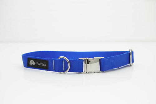 Dog Collar Royal Blue and Silver - Poshtails