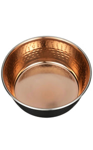Dog Food and Water Bowl Black and Copper - Poshtails