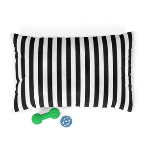 Black and White Striped Plush Dog Bed - Poshtails