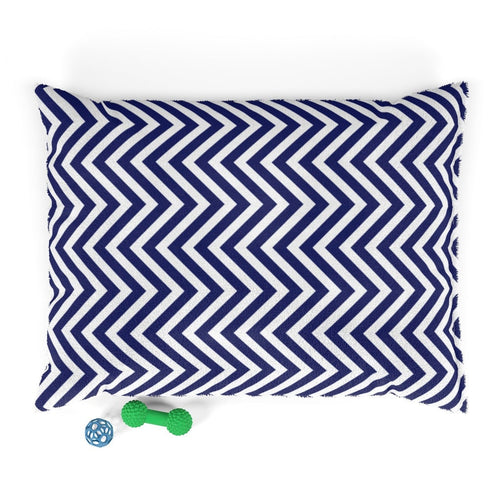 Ocean Blue Chevron Plush Dog Bed - Poshtails