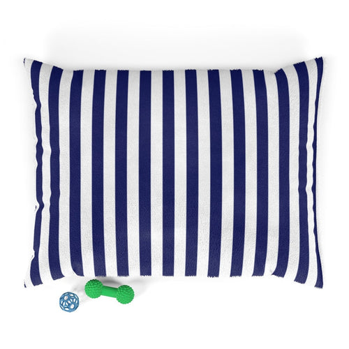 Ocean Blue Striped Plush Dog Bed - Poshtails