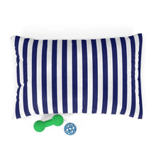 Load image into Gallery viewer, Ocean Blue Striped Plush Dog Bed - Poshtails